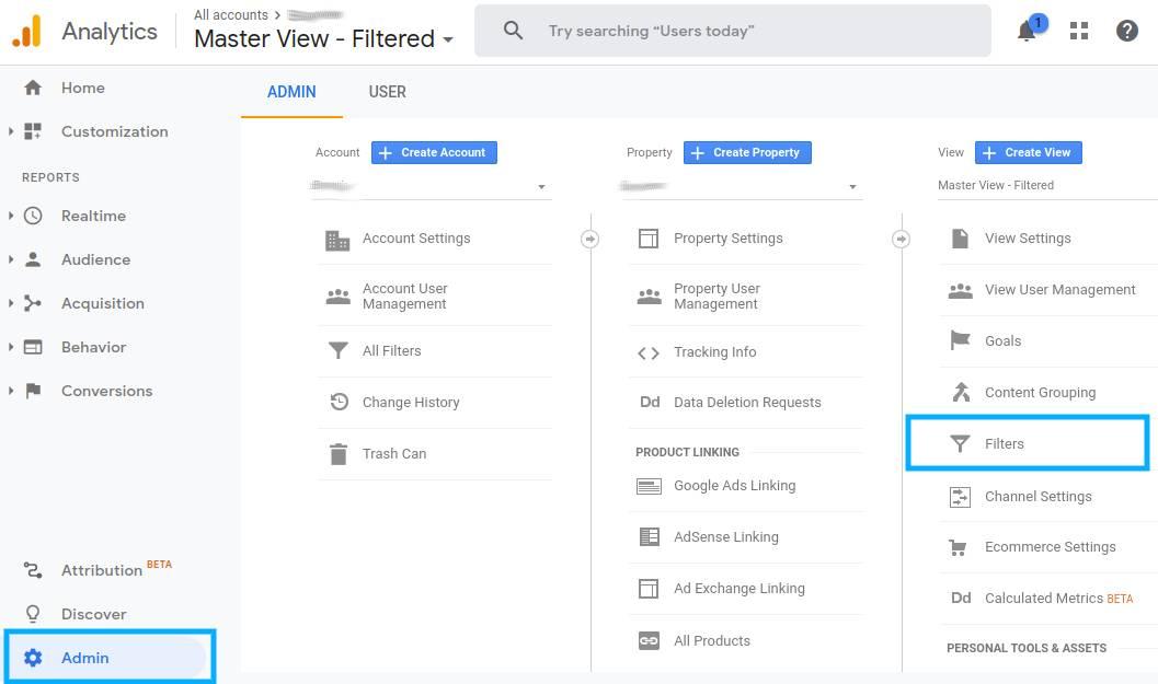 Screenshot of Google Analytics Admin Panel