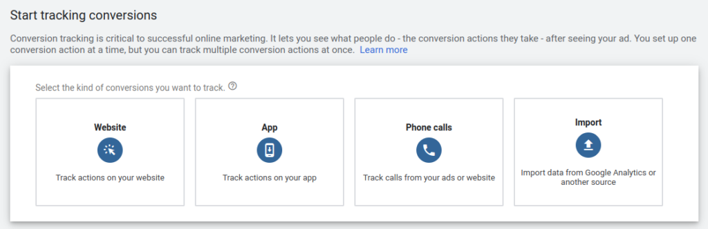 google ads conversion tracking options