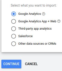 google ads goals import
