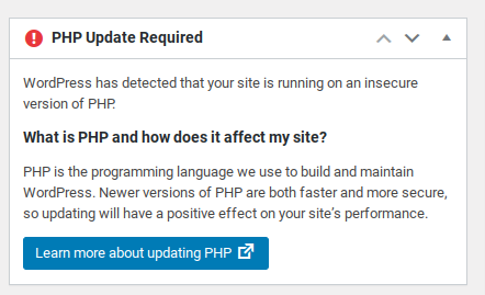 PHP warning for out of date server