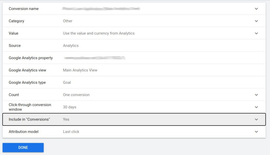 google ads 'include in conversions' option