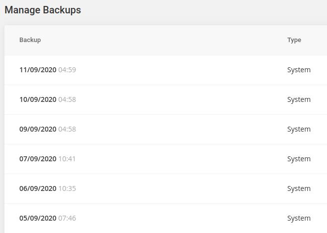 siteground backups screenshot